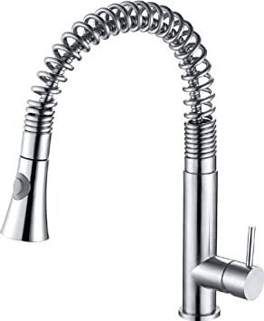 ALFI brand  AB2032 Solid Commercial Spring Kitchen Faucet with Pull Down Shower Spray, Stainless Steel