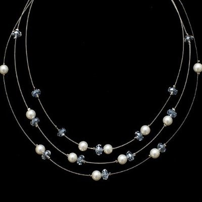 Swarovski Pearl and Crystal 3-strand Necklace, 16