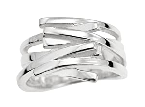 Ornami Sterling Silver Multi Row Square Edged Ring - Size O