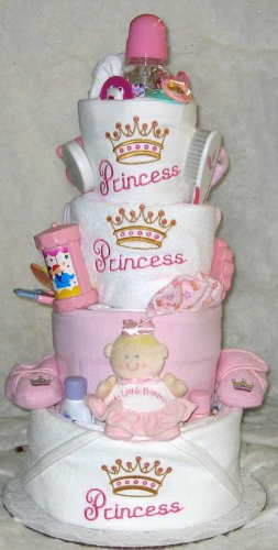 4 Tier Princess Baby Diaper Cake