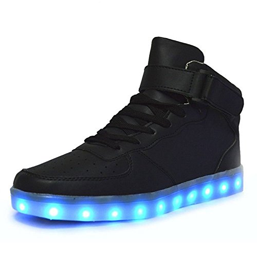 Bininbox Lovers Unisex USB Charging LED 7 Colors Lights Shoes Flashing Sneaker (11.5 B(M) Women/10.5 B(M) Men, Black)
