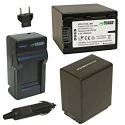 Wasabi Power Battery (2-Pack) and Charger for Sony NP-FV100 and Sony DCR-SR15, SR21, SR68, SR88, SX15, SX21, SX44, SX45, SX63, SX65, SX83, SX85, HDR-CX105, CX110, CX115, CX130, CX150, CX155, CX160, CX190, CX200, CX210, CX220, CX230, CX260V, CX290, CX300,