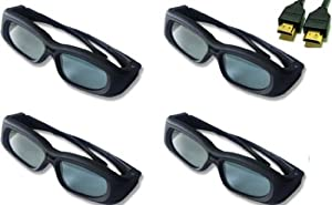 Panasonic TC-P50ST30 Compatible 3D Glasses Bundle Set of 4 with 1 Free HDMI Cable.