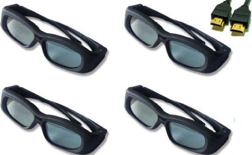 Panasonic TC-P65GT30 Compatible 3D Glasses Bundle Set of 4 with 1 Free HDMI Cable.