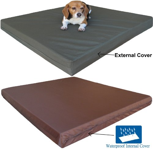 Durable Medium Large Orthopedic Memory Foam Waterproof Pet Bed With Washable Canvas Cover + Free Bonus Case front-860544