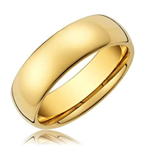 8MM Men's Titanium Ring Classic Wedding Band 14K Gold with Polished Finish [Size 7.5] from Cavalier Jewelers