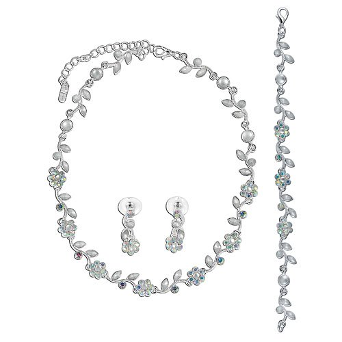 Silver Tone Clear Crystal Bridal Necklace Earrings Bracelet 3-pcs Set