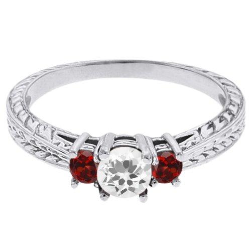 0.57 Ct Round White Topaz Red Garnet 14K White Gold 3-Stone Ring