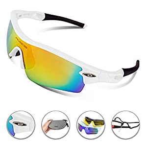 RIVBOS Upgrade TR90 Frame RB0805 POLARIZED Sports Sunglasses with 5 Set Interchangeable Lenses for Cycling