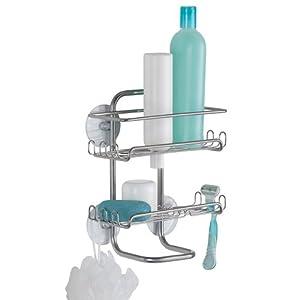 InterDesign Classico Suction Shower Shelves, Silver