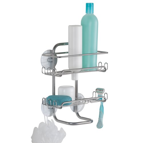 InterDesign Classico Suction Shower Shelves, Silver