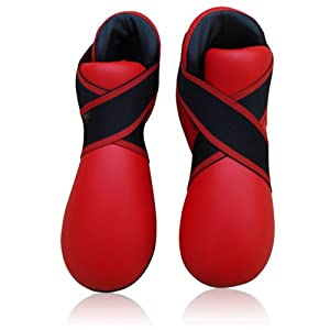 Pu Karate Boot Foot Protection Kick Boxing Sparing Contact Red Medium