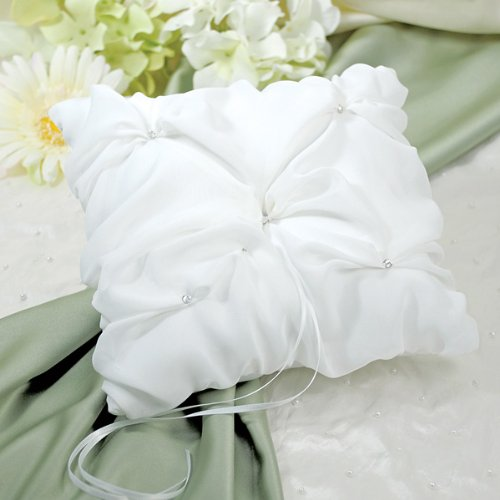 Wedding Favors Elegant Chiffon Ring Pillow - Ivory front-645745