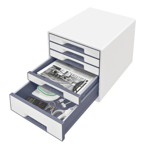 Leitz-52141001-Wow-Cube-Schubladenbox-Polystyrol-5-Schubladen-perlweigrau