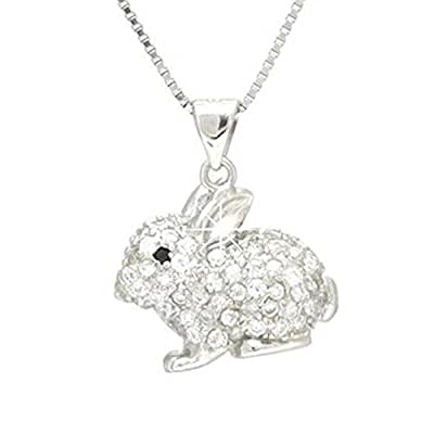 findout sterling silver diamond rabbit bunny pendant necklace (f1421)