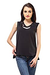 Femme India Women Poly Crepe,Cotton Polyamide Lace Black Crystal Lace Neck Top