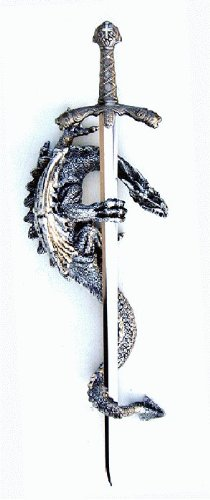"""17"""" Silver Polyresin Dragon With Letter Opener"""
