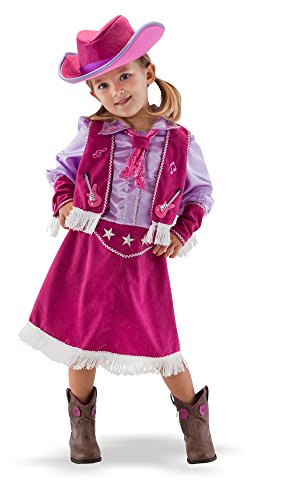 TeeTots Cowgirl Costume Size 3-4 with Hat, Vest, and Dress (Pink Cowgirl Costume)