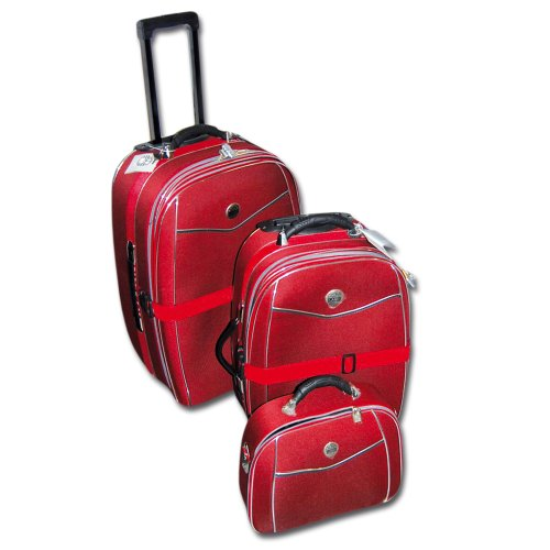 Koffer-Set 3 tlg. rot, Trolley, Reisekoffer