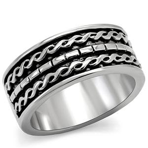 RIGHT HAND RING - Antiqued-Finish High Polished Chain Inlay Fashion Band Stainless Steel Ring