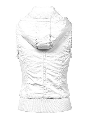MBJ Womens Inner Fleece Zip Up Hoodie Vest S WHITE