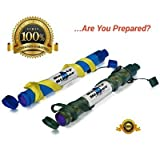 Camping Water Filter Straw Safety Sipper-Portable & Reusable Purifier-Blue & Camouflage Perfect for Hunting, Outdoor Enthusiasts, & Much More! FREE eBook Included-On Water Filtration & Survival Tips! 90-DAY MONEY BACK GUARANTEE