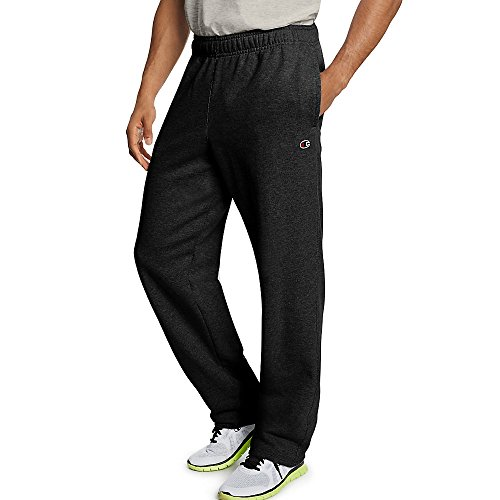 Champion Men's Powerblend Open Bottom Fleece Pant_Black_L