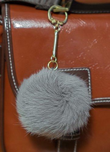 grey-3-for-2-8cm-gold-metal-clasp-keychain-keyring-pompom-ball-real-fur-8cm-monster-soft-fluffy-char