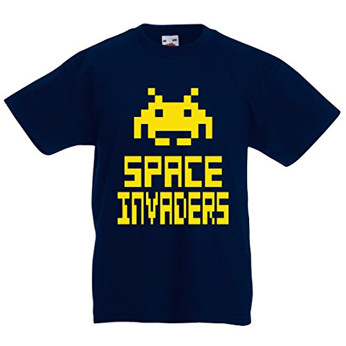 Kids Space Invaders t shirt, Deep Navy, 2XL