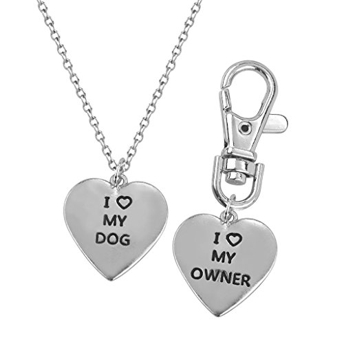 Lux Accessories I <3 Love My Dog Owner Pendant Necklace Matching Tag Collar Keychain Heart (Matching Dog And Owner compare prices)