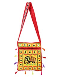 Handmade Yellow Embroidered Cotton Elephant Sling Bag For Women's By Rajrang