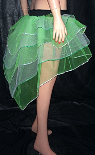 Green White Sequin Tone Peacock Bustle Tutu Skirt Christmas Fancy Costumes