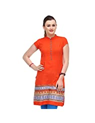 Sia Fashion Orange Pintuck Mix And Match Kurta For Women