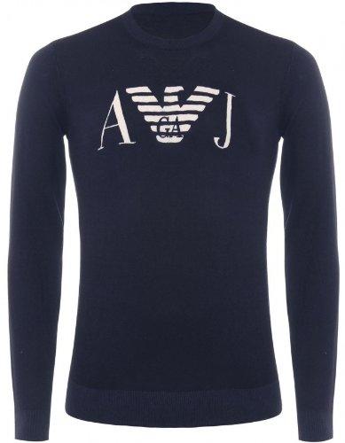 Armani Jeans Men's Sweater Navy Crew Neck Sweatshirt L