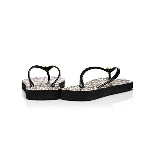 b5a564f90671 pictures of Tory Burch Black Nouveau Flower Thin Flip Flops Sandals Rubber  Size  7