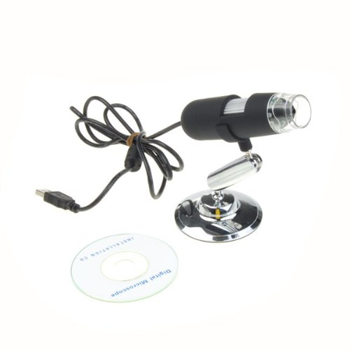 Bestdealusa Black Usb Digital Microscope 10X-220X Magnifier Video Camera 8 Led Bulb