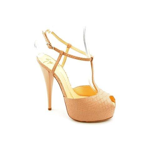 Giuseppe Zanotti Ninas Womens Size 7 5 Nude Leather Open Toe Shoes New Display