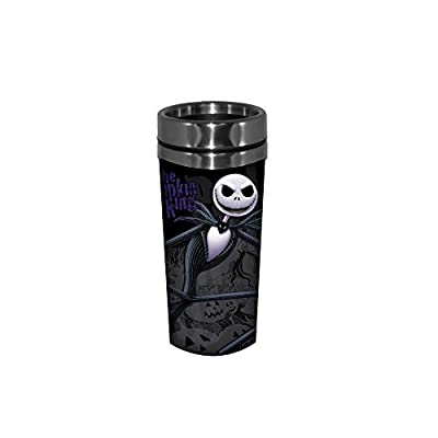 Silver Buffalo NB9687ST Disney Nightmare Before Christmas (NBC) Jack Leaning Face Fade Background Stainless Steel Travel Mug, 16-ounces from Disney