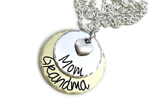 mom grandma necklace perfect gift for grandma hand stamped