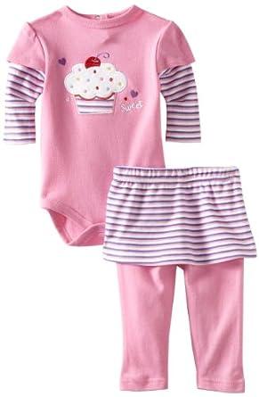 Bon Bebe Baby-girls Newborn Sweet Cupcake 2 Piece Skirted Pant Set, Pink/Purple, 0-3 Months