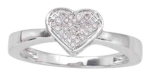 Sterling Silver 0.11cttw Diamond Heart Shaped Promise Ring