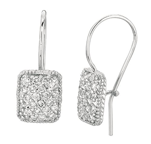 0.62 carat Round diamond rectangular shape hoop pair earring white gold 14K