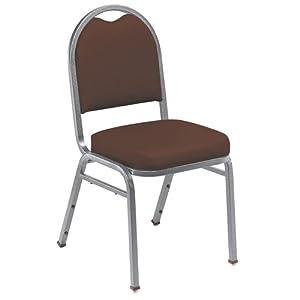 "National Public Seating NPS9208SVPL Dome-Back Stacker, 9200 Series, 2"" Foam Seat, 40 Each Per Pallet, Pleasant Burgundy Vinyl, Silvervein Frame"