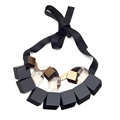 Black and Brown Squares Necklace by Silvia Rossi||RF10F