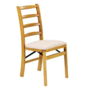 stakmore shaker wood folding chairs w upholstered seats