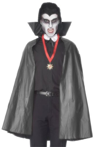 Smiffy's Men's Polyvinyl Chloride Vampire Cape with Stand Up Collar 114 Cm 45 Inches, Black, One Size