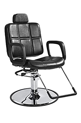 Reclining Shampoo Styling Hydraulic Barber Chair Hair Beauty Salon Equipment Black