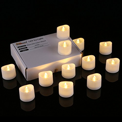 Homemory Realistic and Bright Flickering Bulb Battery Operated Flameless LED Tea Light for Seasonal & Festival Celebration, Pack of 12, Electric Fake Candle in Warm White and Wave Open