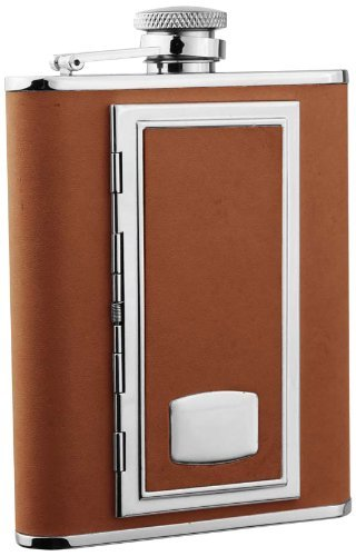 "Visol ""SP Brown"" Leather 6-Ounce Brown Flask With Built-In Cigarette Case"