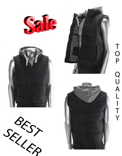 Mens Hooded Puffer Body Warmer / GILLET / Black / Waistcoat / Warm / Black Zip LARGE ADULTS